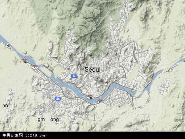 韩国首尔地图(卫星地图)