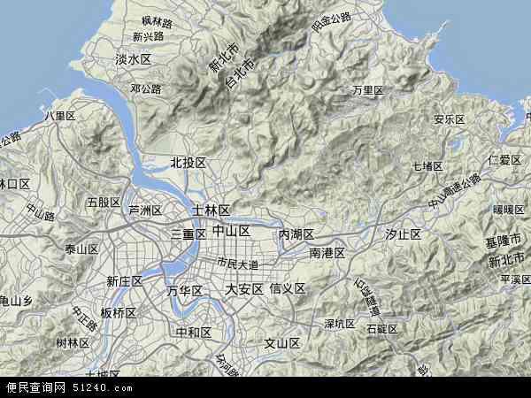 中国台湾台北市地图(卫星地图)