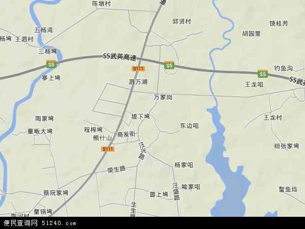 中国湖北省武汉市新洲区汪集地图(卫星地图)
