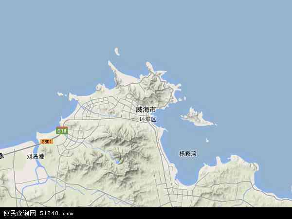 中国山东省威海市地图(卫星地图)