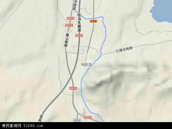 中国新疆维吾尔自治区乌鲁木齐市达坂城区乌拉泊地图(卫星地图)图片