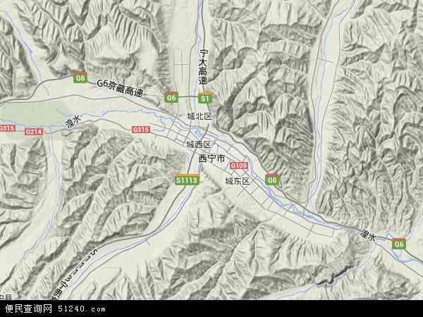 中国青海省西宁市地图(卫星地图)