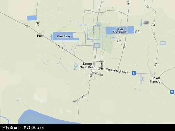 柬埔寨暹粒地图(卫星地图)