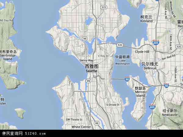 美国华盛顿西雅图地图(卫星地图)