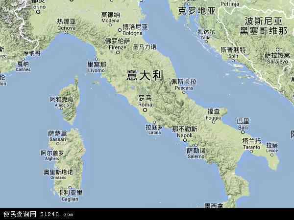意大利地图 - 意大利卫星地图