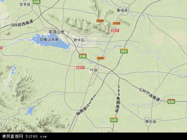 中国河南省平顶山市叶县地图(卫星地图)