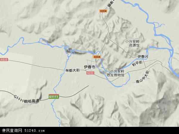 伊春市地图 - 伊春市卫星地图