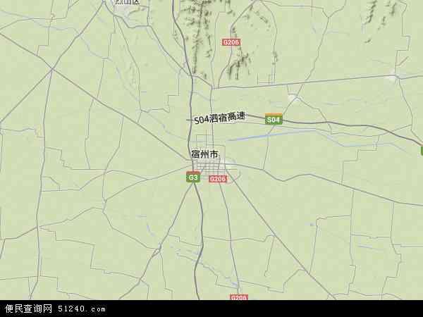 中国安徽省宿州市埇桥区地图(卫星地图)