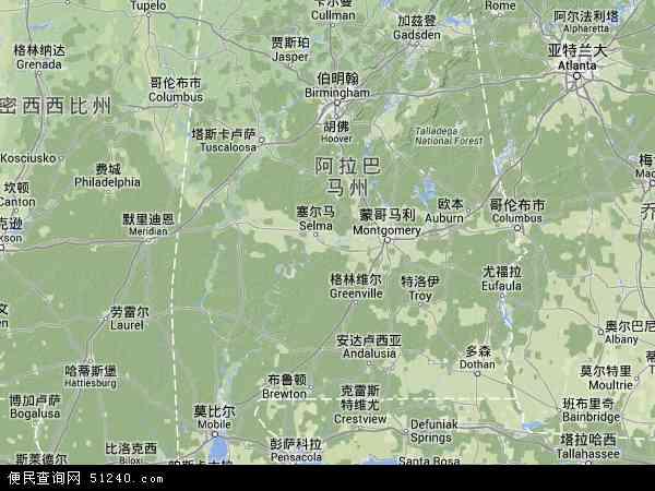 美国阿拉巴马地图(卫星地图)