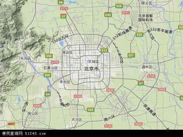 中国北京市地图(卫星地图)