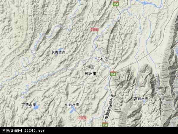 北湖区地图 - 北湖区卫星地图