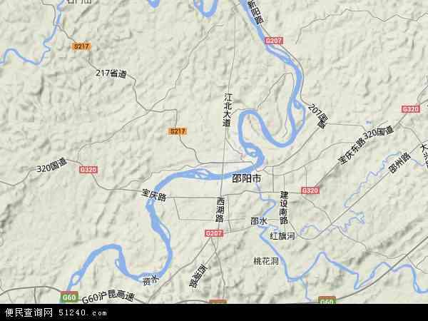 中国湖南省邵阳市北塔区地图(卫星地图)