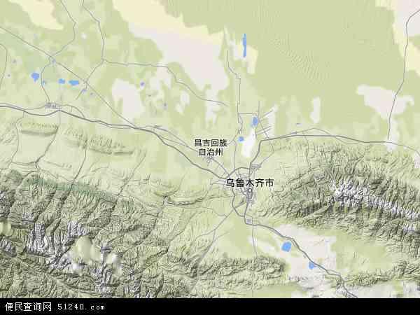 中国新疆维吾尔自治区昌吉回族自治州昌吉市地图