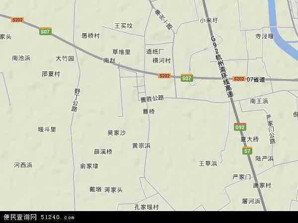 中国浙江省嘉兴市平湖市曹桥地图(卫星地图)