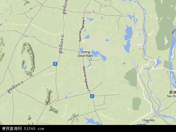柬埔寨茶胶地图(卫星地图)