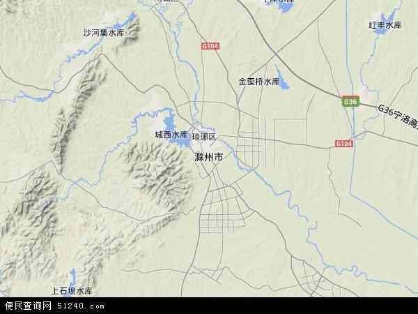 中国安徽省滁州市地图(卫星地图)
