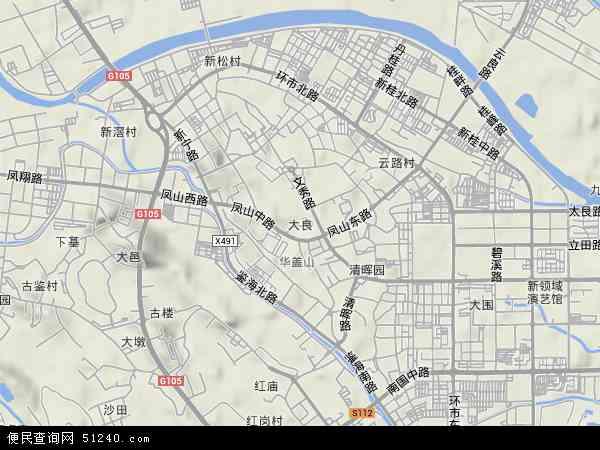 中国广东省佛山市顺德区大良地图(卫星地图)