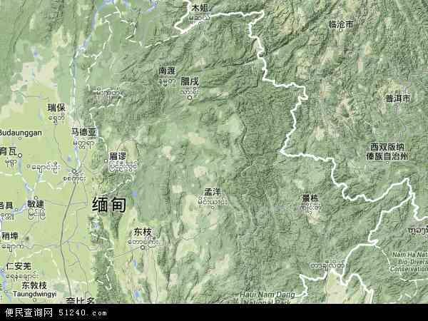 缅甸掸邦地图(卫星地图)