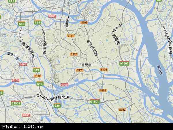 中国广东省广州市番禺区地图(卫星地图)
