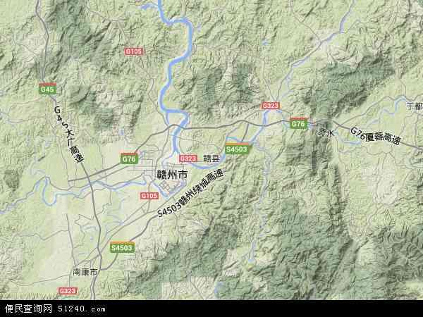 中国江西省赣州市赣县地图(卫星地图)