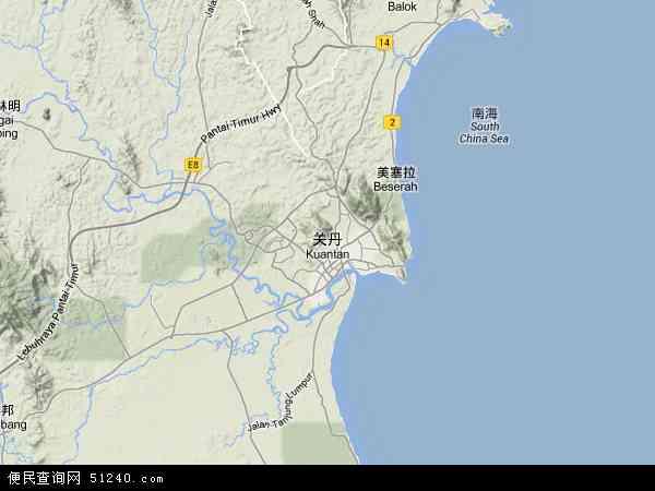 马来西亚彭亨关丹地图(卫星地图)