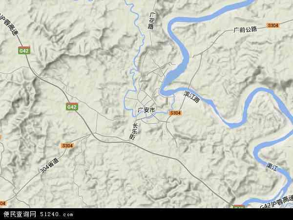 中国四川省广安市地图(卫星地图)