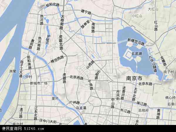 中国江苏省南京市鼓楼区地图(卫星地图)