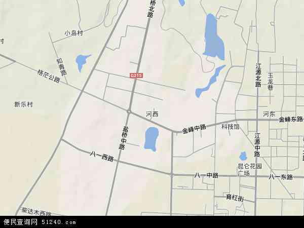 中国青海省海西蒙古族藏族自治州格尔木市河西地图(卫星地图)