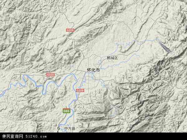 中国湖南省怀化市地图(卫星地图)