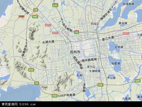 中国江苏省苏州市虎丘区地图(卫星地图)