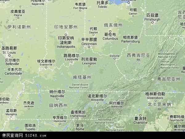美国肯塔基地图(卫星地图)