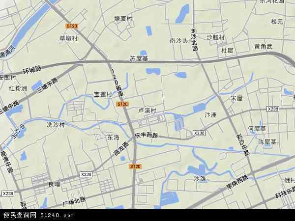 卢溪村地形地图