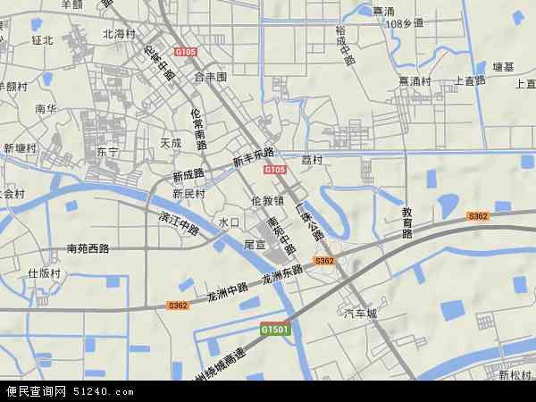 中国广东省佛山市顺德区伦教地图(卫星地图)