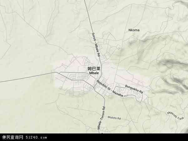 乌干达姆巴莱地图(卫星地图)