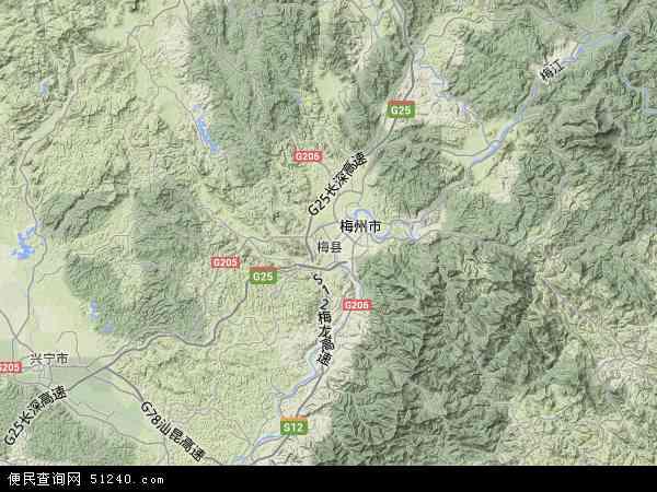 中国广东省梅州市梅县地图(卫星地图)