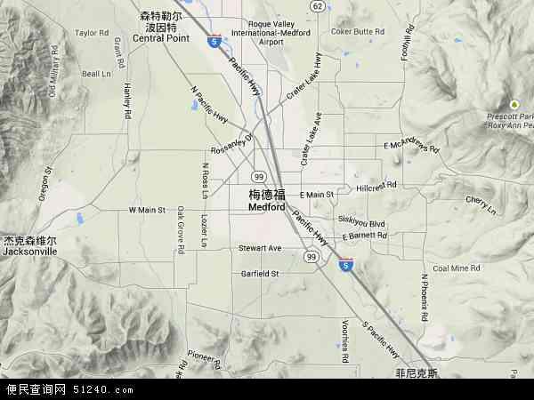 美国俄勒冈梅德福地图(卫星地图)
