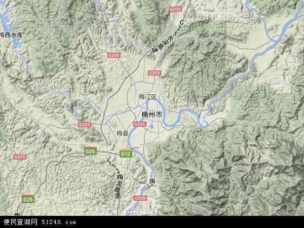 梅州市地图 - 梅州市卫星地图