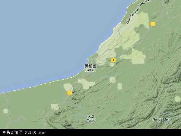 马来西亚沙捞越民都鲁地图(卫星地图)