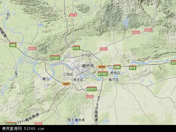 中国广西壮族自治区南宁市地图(卫星地图)