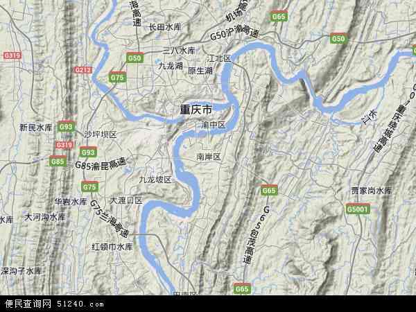 中国重庆市南岸区地图(卫星地图)