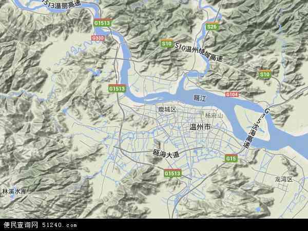 中国浙江省温州市瓯海区地图(卫星地图)