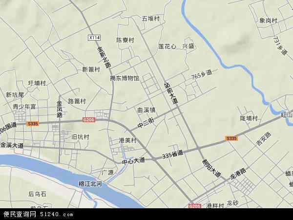 中国广东省揭阳市揭东区曲溪地图(卫星地图)