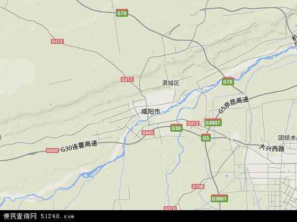 中国陕西省咸阳市秦都区地图(卫星地图)