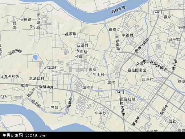 中国广东省佛山市顺德区容桂地图(卫星地图)