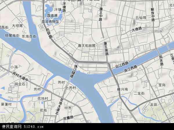 中國 廣東省 廣州市 荔灣區 沙面  本站收錄有:2019沙面衛星地圖高清