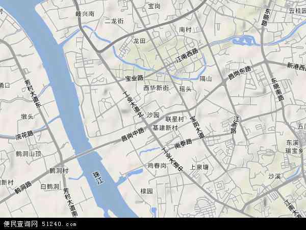 中国广东省广州市海珠区沙园地图(卫星地图)