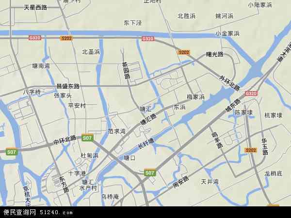 中国浙江省嘉兴市秀洲区塘汇地图