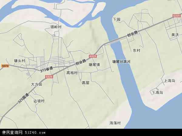 中国广东省湛江市吴川市塘尾地图(卫星地图)