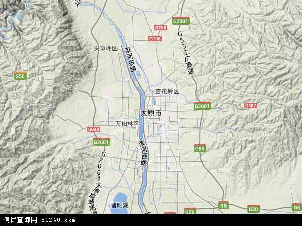 中国山西省太原市地图(卫星地图)