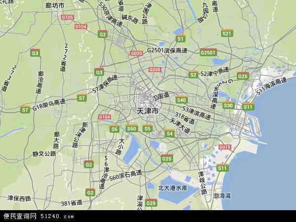 中国天津市地图(卫星地图)